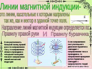 Линии магнитной индукции-это линии, касательные к которым напрвлены так же, как