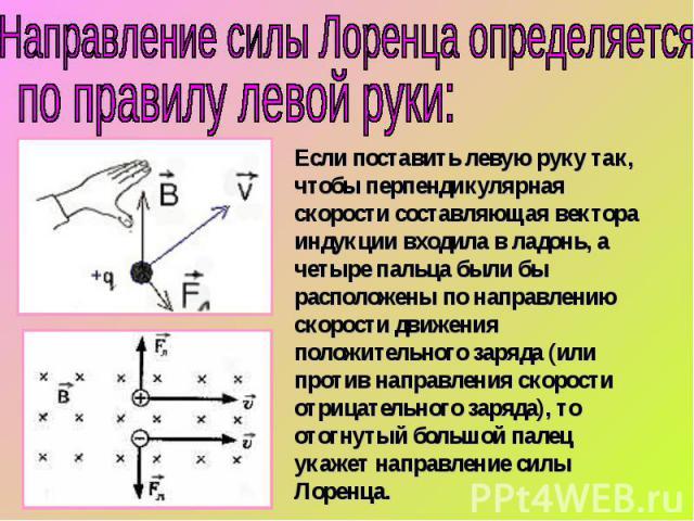 Направление силы Лоренца определяется по правилу левой руки:Если поставить левую руку так, чтобы перпендикулярная скорости составляющая вектора индукции входила в ладонь, а четыре пальца были бы расположены по направлению скорости движения положител…
