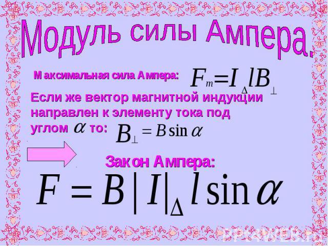 Модуль силы Ампера.Максимальная сила Ампера:Если же вектор магнитной индукции направлен к элементу тока под углом то: Закон Ампера: