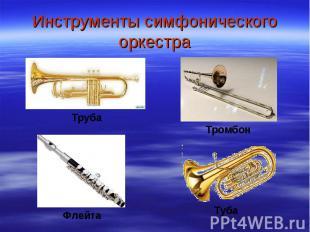 Инструменты симфонического оркестра ТрубаТромбонФлейтаТуба