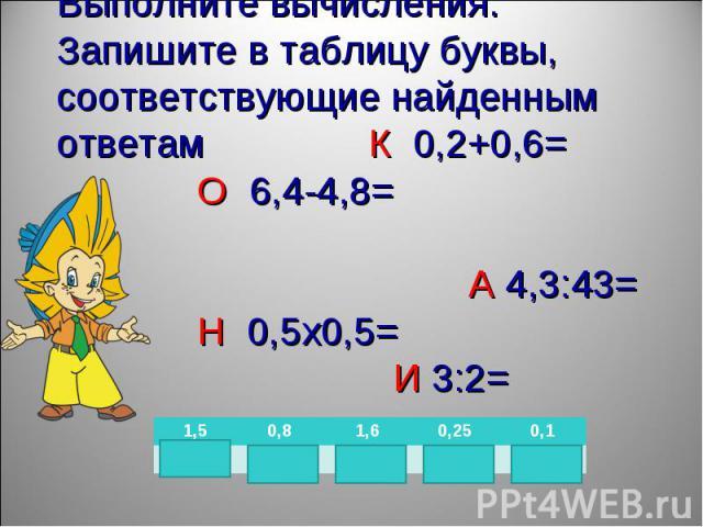 Выполните вычисления. Запишите в таблицу буквы, соответствующие найденным ответам К 0,2+0,6= О 6,4-4,8= А 4,3:43=Н 0,5х0,5= И 3:2=