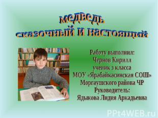 медведь сказочный и настоящий Работу выполнил: Чернов Кириллученик з классаМОУ «