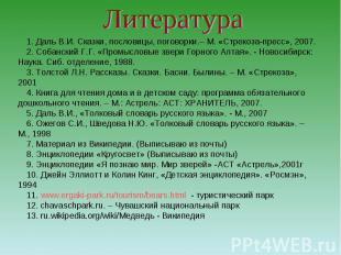 Литература 1. Даль В.И. Сказки, пословицы, поговорки.– М. «Стрекоза-пресс», 2007