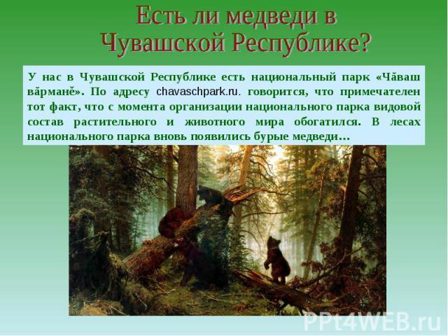 Есть ли медведи в Чувашской Республике?У нас в Чувашской Республике есть национальный парк «Чăваш вăрманě». По адресу chavaschpark.ru. говорится, что примечателен тот факт, что с момента организации национального парка видовой состав растительного и…