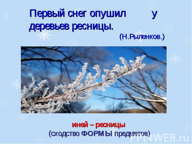 Первый снег опушил у деревьев ресницы.(Н.Рыленков.)иней – ресницы (сходство ФОРМЫ предметов)