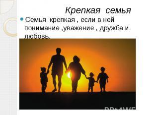 Крепкая семья Семья крепкая , если в ней понимание ,уважение , дружба и любовь.