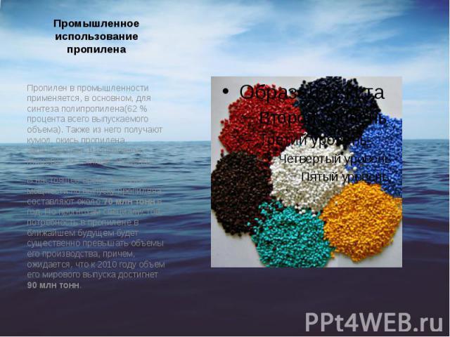 Промышленное использование пропилена Пропилен в промышленности применяется, в основном, для синтеза полипропилена(62% процента всего выпускаемого объема). Также из него получают кумол, окись пропилена, акрилонитрил, изопропанол, глицерин, масл…