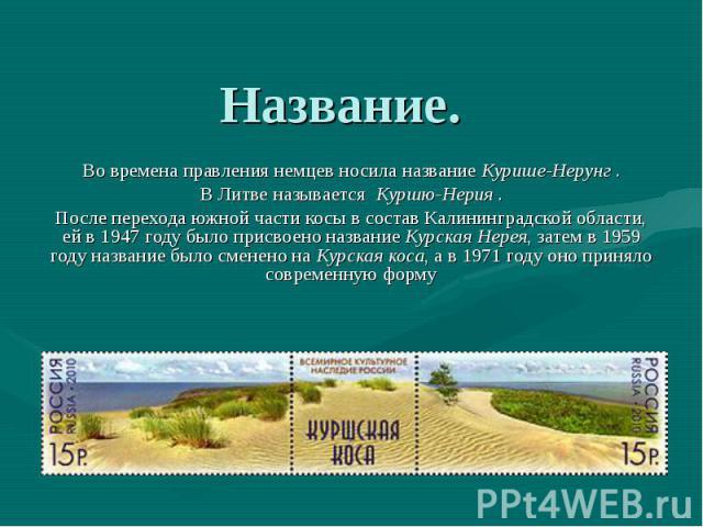 Название. Во времена правления немцев носила названиеКурише-Нерунг. В Литве называетсяКуршю-Нерия. После перехода южной части косы в состав Калининградской области, ей в 1947 году было присвоено названиеКурская Не…