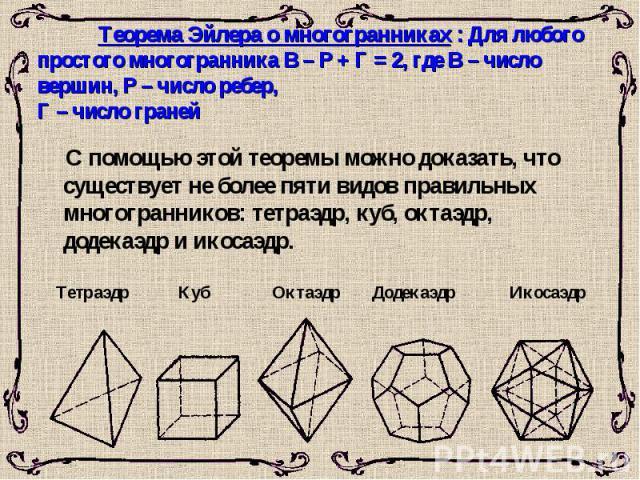 Теорема Эйлера о многогранниках : Для любого простого многогранника В – Р + Г = 2, где В – число вершин, Р – число ребер, Г – число граней С помощью этой теоремы можно доказать, что существует не более пяти видов правильных многогранников: тетраэдр,…