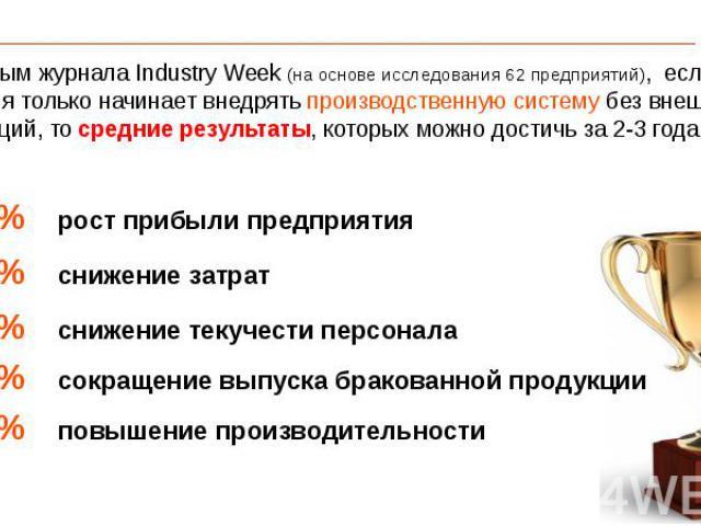 По данным журнала Industry Week (на основе исследования 62 предприятий), если компания только начинает внедрять производственную систему без внешних инвестиций, тосредние результаты, которых можно достичь за 2-3 года: По данным журнала Industr…