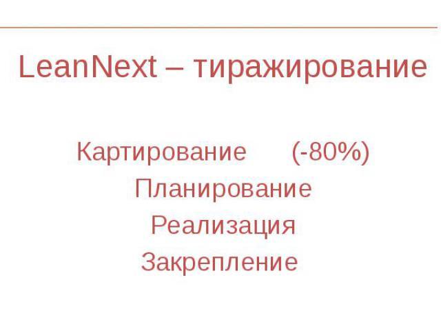LeanNext – тиражирование LeanNext – тиражирование Картирование (-80%) Планирование Реализация Закрепление