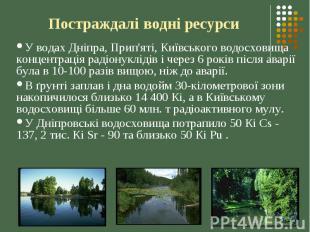 Постраждалі водні ресурси У водах Дніпра, Прип'яті, Київського водосховища конце