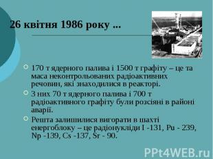 26 квітня 1986 року ... 170 т ядерного палива і 1500 т графіту – це та маса неко