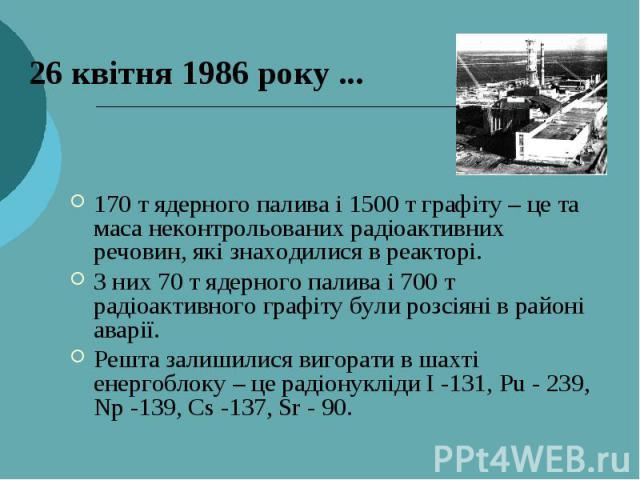 26 квітня 1986 року ... 170 т ядерного палива і 1500 т графіту – це та маса неконтрольованих радіоактивних речовин, які знаходилися в реакторі. З них 70 т ядерного палива і 700 т радіоактивного графіту були розсіяні в районі аварії. Решта залишилися…