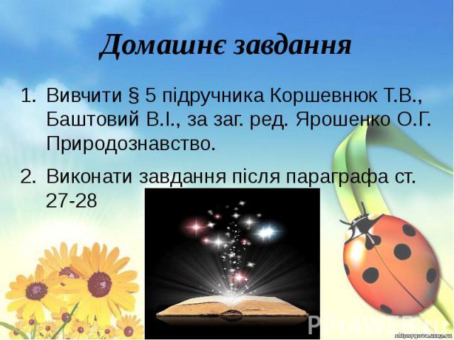 Домашнє завдання Вивчити § 5 підручника Коршевнюк Т.В., Баштовий В.І., за заг. ред. Ярошенко О.Г. Природознавство. Виконати завдання після параграфа ст. 27-28