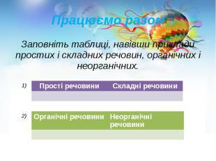 Працюємо разом Заповніть таблиці, навівши приклади простих і складних речовин, о