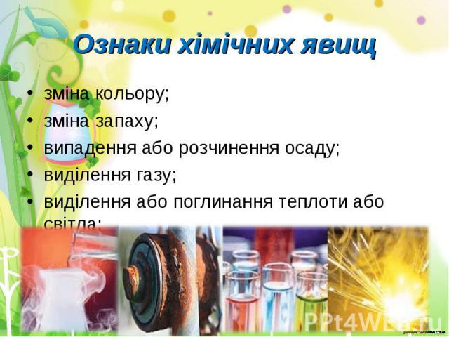 зміна кольору; зміна кольору; зміна запаху; випадення або розчинення осаду; виділення газу; виділення або поглинання теплоти або світла;