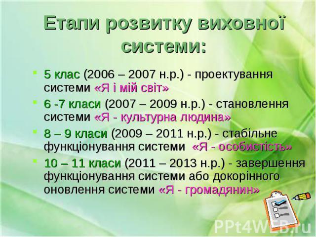 5 клас (2006 – 2007 н.р.) - проектування системи «Я і мій світ» 5 клас (2006 – 2007 н.р.) - проектування системи «Я і мій світ» 6 -7 класи (2007 – 2009 н.р.) - становлення системи «Я - культурна людина» 8 – 9 класи (2009 – 2011 н.р.) - стабільне фун…