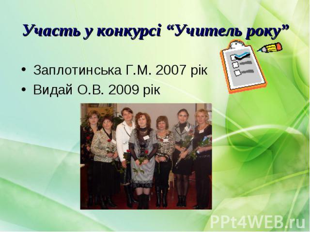 Заплотинська Г.М. 2007 рік Заплотинська Г.М. 2007 рік Видай О.В. 2009 рік