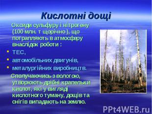 Кислотні дощі Оксиди сульфуру і нітрогену (100 млн. т щорічно ), що потрапляють