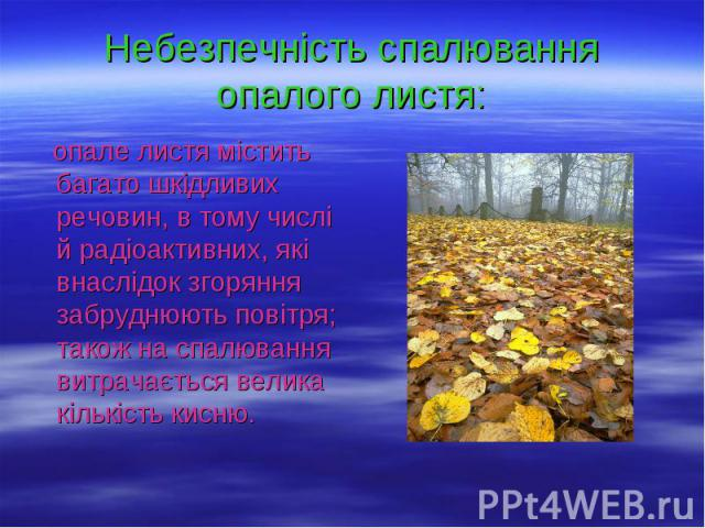 Небезпечність спалювання опалого листя: опале листя містить багато шкідливих речовин, в тому числі й радіоактивних, які внаслідок згоряння забруднюють повітря; також на спалювання витрачається велика кількість кисню.