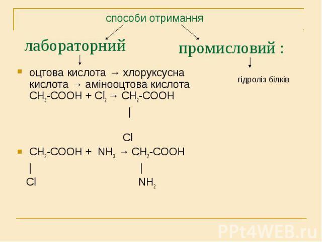 оцтова кислота → хлоруксусна кислота → амінооцтова кислота СН3-СООН + Сl2 → СН2-СООН оцтова кислота → хлоруксусна кислота → амінооцтова кислота СН3-СООН + Сl2 → СН2-СООН | Cl СН2-СООН + NH3 → СН2-СООН | | Сl NH2