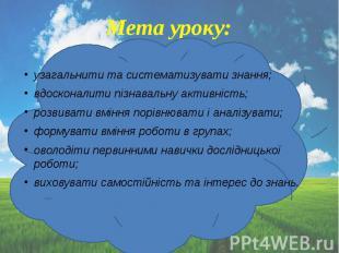 Мета уроку: узагальнити та систематизувати знання; вдосконалити пізнавальну акти