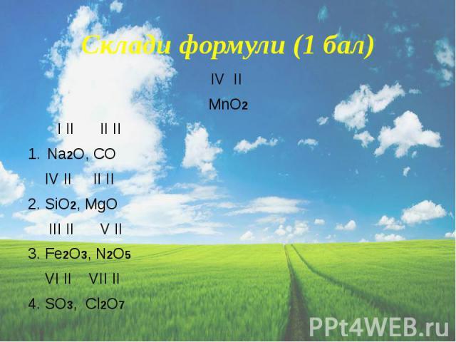 Склади формули (1 бал) IV II MnO2 I II II II Na2O, CO IV II II II 2. SiO2, МgO III II V II 3. Fe2O3, N2O5 VI II VII II 4. SO3, Cl2O7
