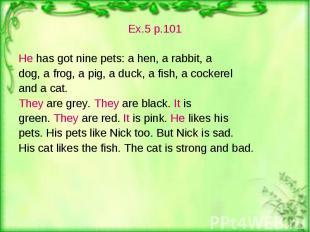 Ex.5 p.101 Ex.5 p.101 He has got nine pets: a hen, a rabbit, a dog, a frog, a pi