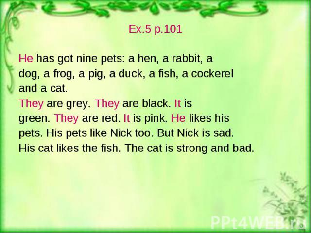 Ex.5 p.101 Ex.5 p.101 He has got nine pets: a hen, a rabbit, a dog, a frog, a pig, a duck, a fish, a cockerel and a cat. They are grey. They are black. It is green. They are red. It is pink. He likes his pets. His pets like Nick too. But Nick is sad…