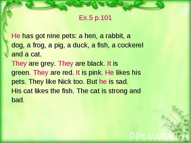 Ex.5 p.101 Ex.5 p.101 He has got nine pets: a hen, a rabbit, a dog, a frog, a pig, a duck, a fish, a cockerel and a cat. They are grey. They are black. It is green. They are red. It is pink. He likes his pets. They like Nick too. But he is sad. His …