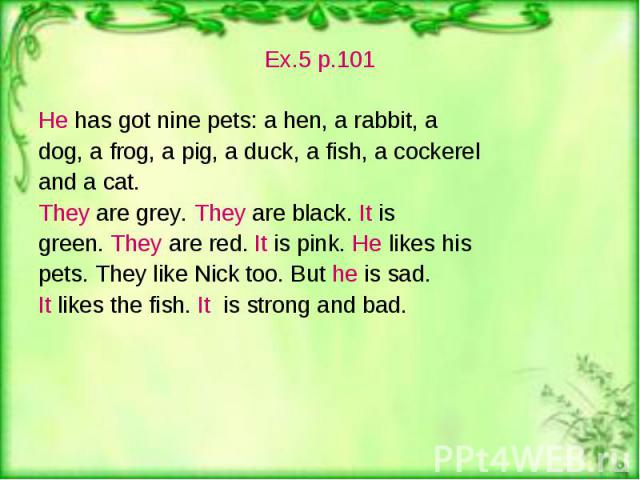 Ex.5 p.101 Ex.5 p.101 He has got nine pets: a hen, a rabbit, a dog, a frog, a pig, a duck, a fish, a cockerel and a cat. They are grey. They are black. It is green. They are red. It is pink. He likes his pets. They like Nick too. But he is sad. It l…