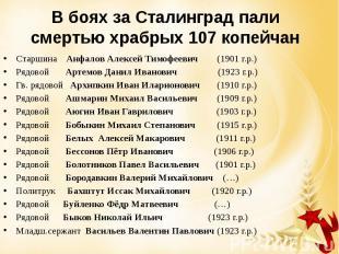 В боях за Сталинград пали смертью храбрых 107 копейчан Старшина Анфалов Алексей