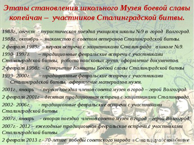 Этапы становления школьного Музея боевой славы копейчан – участников Сталинградской битвы.