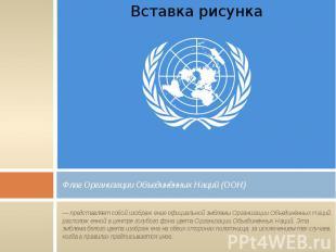 Флаг Организации Объединённых Наций (ООН) — представляет собой изображение офици