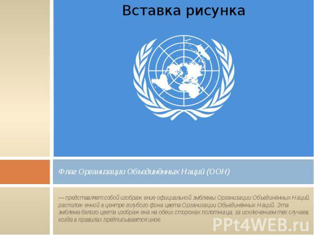Флаг Организации Объединённых Наций (ООН) — представляет собой изображение официальной эмблемы Организации Объединённых Наций, расположенной в центре голубого фона цвета Организации Объединённых Наций. Эта эмблема белого цвета изображена на обеих ст…
