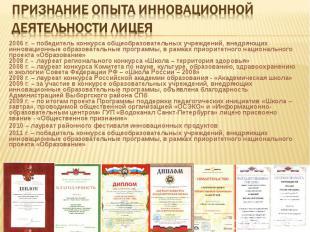 2006 г. – победитель конкурса общеобразовательных учреждений, внедряющих инновац