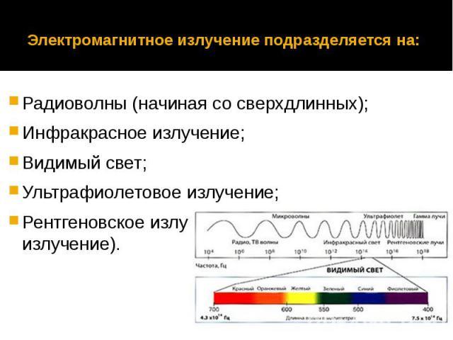 Электромагнитное излучение подразделяется на: Радиоволны (начиная со сверхдлинных);Инфракрасное излучение;Видимый свет;Ультрафиолетовое излучение;Рентгеновское излучение и жесткое (гамма-излучение).