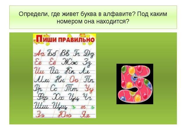Определи, где живет буква в алфавите? Под каким номером она находится?