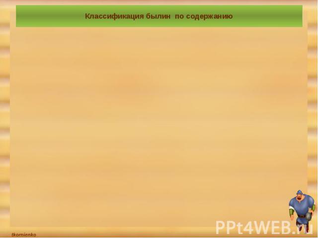 Классификация былин по содержанию