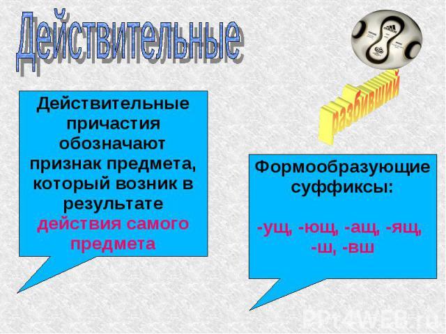 Действительные Действительные причастия обозначают признак предмета, который возник в результате действия самого предметаФормообразующие суффиксы:-ущ, -ющ, -ащ, -ящ, -ш, -вш