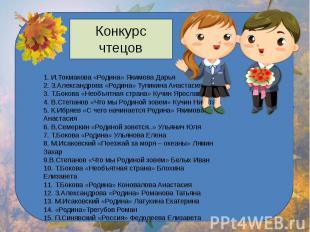 Конкурс чтецов 1. И.Токмакова «Родина» Якимова Дарья2. З.Александрова «Родина» Т