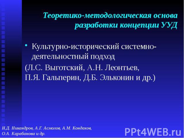 Теоретико-методологическая основа разработки концепции УУД Культурно-исторический системно-деятельностный подход (Л.С. Выготский, А.Н. Леонтьев,П.Я. Гальперин, Д.Б. Эльконин и др.)
