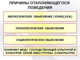ПРИЧИНЫ ОТКЛОНЯЮЩЕГОСЯ ПОВЕДЕНИЯ БИОЛОГИЧЕСКОЕ ОБЬЯСНЕНИЕ ( КОНЕЦ 19 В.)ПСИХОЛОГ
