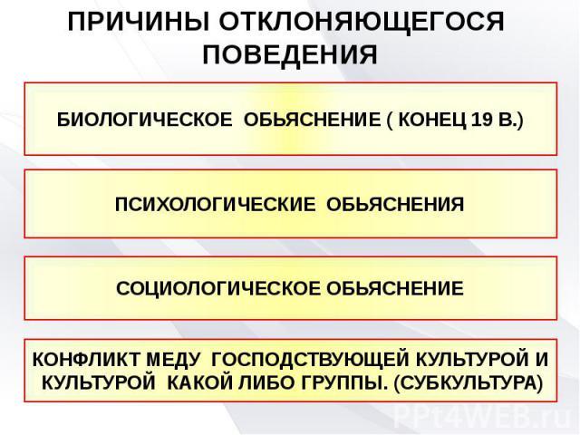 ПРИЧИНЫ ОТКЛОНЯЮЩЕГОСЯ ПОВЕДЕНИЯ БИОЛОГИЧЕСКОЕ ОБЬЯСНЕНИЕ ( КОНЕЦ 19 В.)ПСИХОЛОГИЧЕСКИЕ ОБЬЯСНЕНИЯСОЦИОЛОГИЧЕСКОЕ ОБЬЯСНЕНИЕКОНФЛИКТ МЕДУ ГОСПОДСТВУЮЩЕЙ КУЛЬТУРОЙ И КУЛЬТУРОЙ КАКОЙ ЛИБО ГРУППЫ. (СУБКУЛЬТУРА)