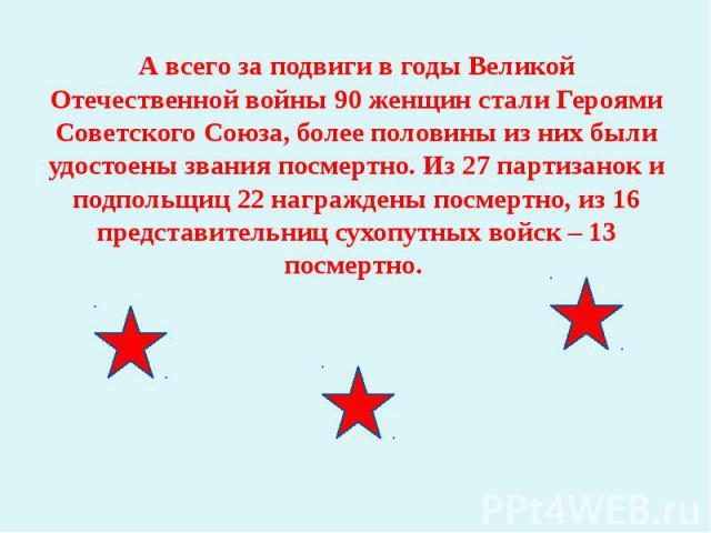 А всего за подвиги в годы Великой Отечественной войны 90 женщин стали Героями Советского Союза, более половины из них были удостоены звания посмертно. Из 27 партизанок и подпольщиц 22 награждены посмертно, из 16 представительниц сухопутных войск – 1…
