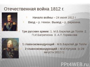 Отечественная война 1812 г. Начало войны – 24 июня 1812 г.Вход – р. Неман. Выход