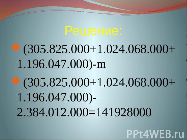 Решение: (305.825.000+1.024.068.000+1.196.047.000)-m(305.825.000+1.024.068.000+1.196.047.000)-2.384.012.000=141928000