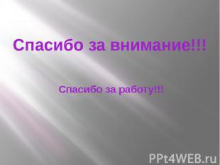 Спасибо за внимание!!! Спасибо за работу!!!