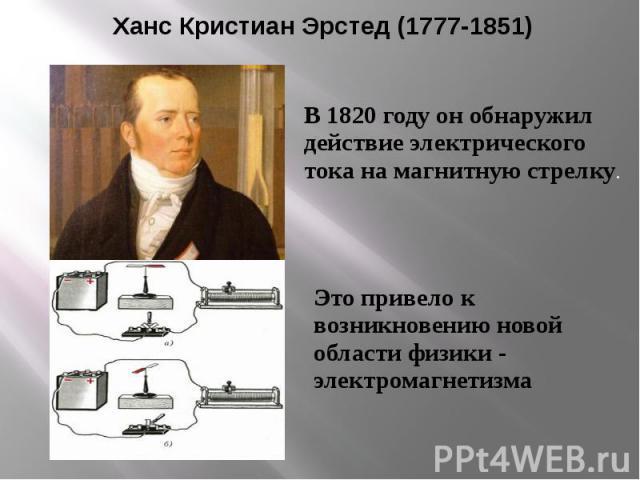 Ханс Кристиан Эрстед (1777-1851) В 1820 году он обнаружил действие электрического тока на магнитную стрелку.Это привело к возникновению новой области физики - электромагнетизма